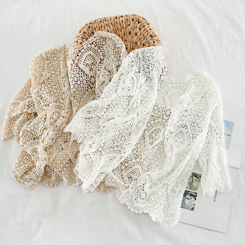 Knitted Shrug Women Bohemian Style Midi Sleeve Lace Open Cardigan Short Knitting Outwear Hollow Out Sweater Geometric Tops