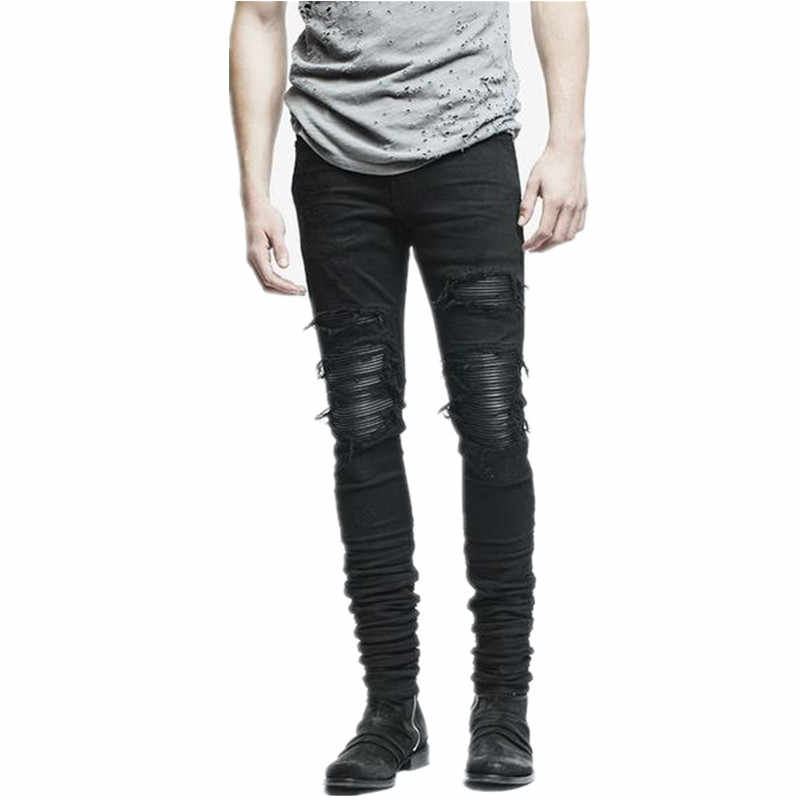 New Dropshipping Men Ripped Biker Jeans Distressed Moto Denim Joggers Destroyed Knee Leather Pleated Patch Jeans
