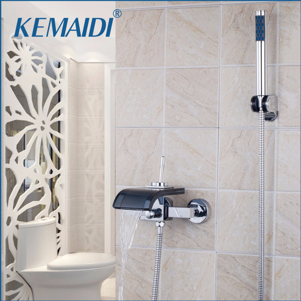 KEMAIDI Bath & Shower Faucets Square Wall Mounted Waterfall Spout Bathroom Bath Handheld Shower Set Tap Mixer Bathtub Faucet bathroom handheld shower head faucet mixer tap copper bathtub faucet shower chrome wall mounted waterfall shower faucet set
