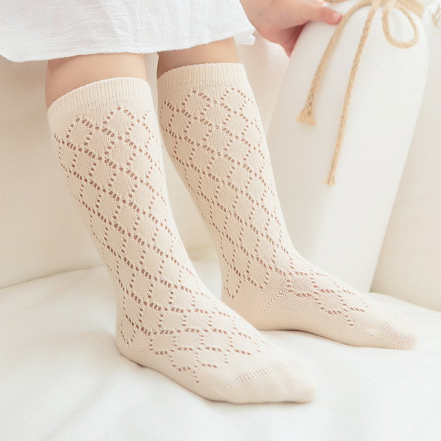8f2bd2a8f83d9 12 Pairs / Lot Girls Knee High Socks Summer Style Mesh Cotton Kid Socks Girl  Clothing Accessories