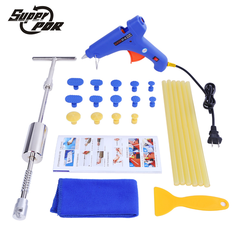 Super PDR hand tools Slide Hammer Glue puller glue gun glue tabs dent repair tools kit Paintless dent removal tool set super pdr car dent repair tools pulling bridge glue puller glue gun dent tabs hand tool set 39pcs dent removal tools kit