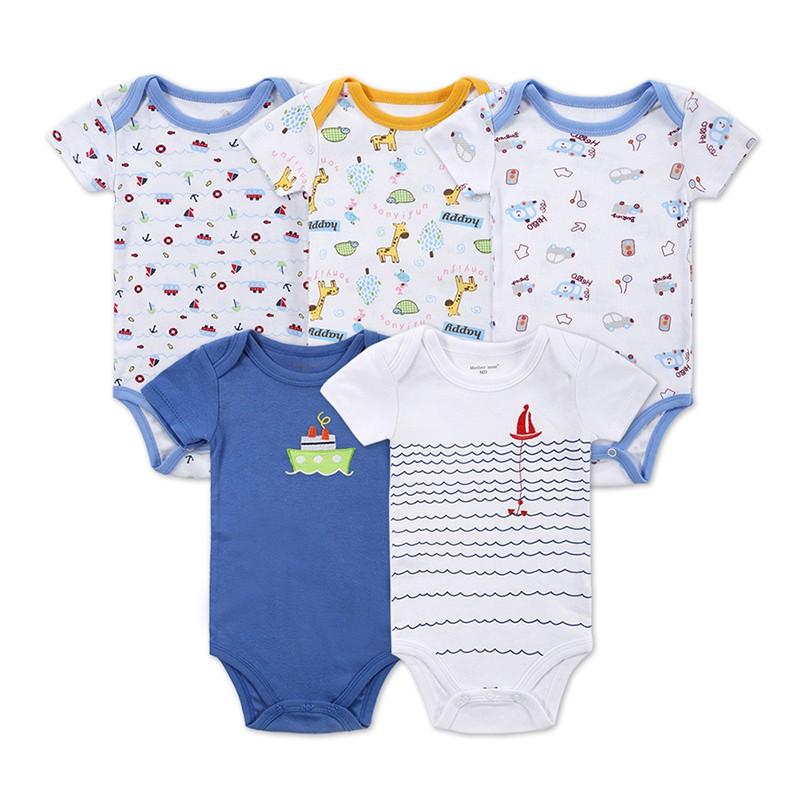 DH16503 Newborn Baby Clothes Animal Print Short Sleeve Cotton Baby Boy Romper Girl Ruffle Romper roupas de bebe infantil Costumes