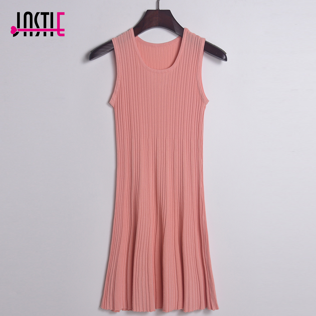 Jastie Spring Summer Women Knitted Dress O-Neck Sleeveless Vest Mini Dresses Knitting Casual Pleated Tank Dress Jersey Vestidos женское платье dresses dress women 2015 printsleeveless o summer style women dress