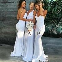 V Neck Spaghetti Straps Satin Backless Sexy Mermaid Bridesmaid Dresses White Royal Blue Light Blue Bridesmaid Gowns Long Wedding