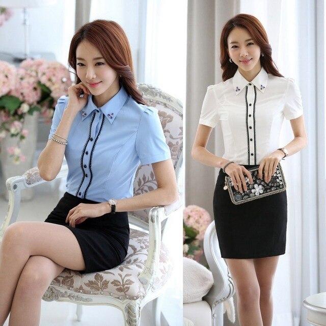 ffcd57e1a7a New Arrival 2015 Summer Formal Light Blue Shirts Women Short Sleeve Blouse  and Tops White OL Office Uniform Shirts Work Wear