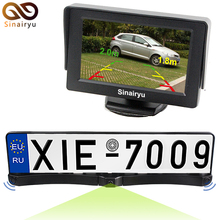 """Sinairyu 3IN1 Automotive Parking System License Plate with Rearview Digicam and Sensor + four.Three"""" Automotive TFT LCD Monitor Automotive Parking Help"""