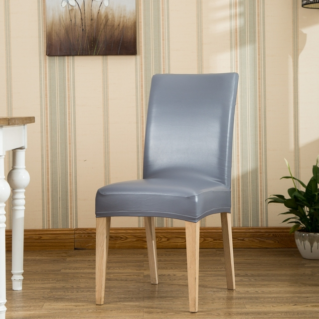 chair covers waterproof antique wooden dining styles romanzo home use hotel chairs thick stretch pu pvc one piece universal restaurant