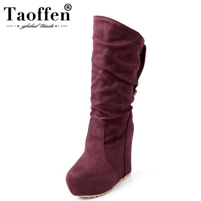 Taoffen ผู้หญิงฤดูหนาว Wedges รองเท้า Buckle แพลตฟอร์มกลางลูกวัวบู๊ทส์ขนสัตว์รองเท้าผู้หญิงเซ็กซี่ Lady Party รองเท้าขนาด 34-39