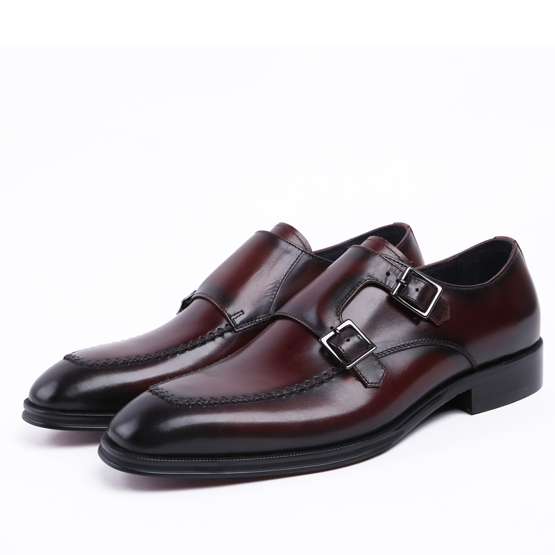 Double Buckle Black /brown tan dress shoes mens business shoes genuine leather breathable wedding shoes man fashion formal shoes fashion luxury mens patent leather shoes genuine leather black formal men dress shoe for wedding party buckle business high heel