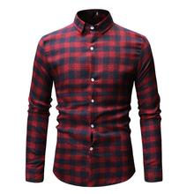 Plaid Long sleeve Shirt Men Lapel Blouse Mens Clothing Lattice Check Design Casual Shirts Gray Red Blue