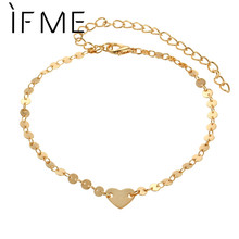 IF ME New Coin Sequins Anklet Simple Chain Ankle Bracelet Foot Jewelry For Women Gold Color Wedding Barefoot Sandals Jewlery