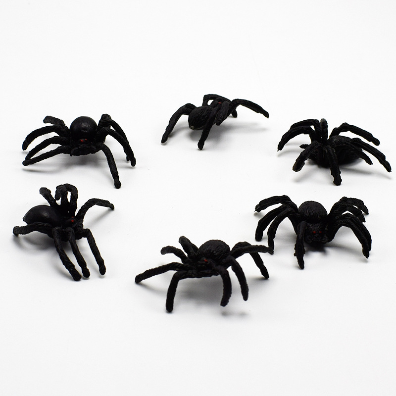5/10 pcs/set <font><b>Funny</b></font> <font><b>Gadgets</b></font> Simulation Spider Toy Lifelike Scary Red Eyes Joking Novelty Trick Fake Bugs Halloween Props image