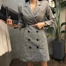 2019 New Euro Fashion Women Plaid Party Dress Elegant Suit Casual Long Sleeve Work OL Ladies Party Slim Fit Dress Suits