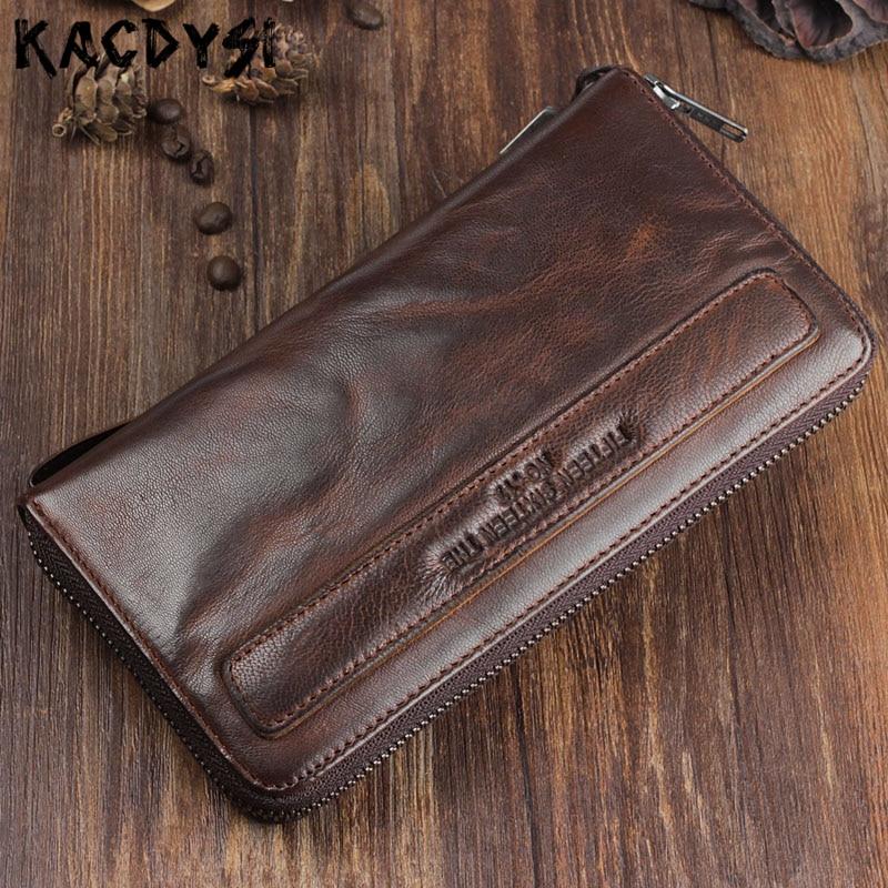 Prawdziwej skóry oryginalny Handmade mężczyźni portfel zmarszczki miękkie mężczyzna portfel skóry Retro najwyższej jakości długa portmonetka damska męskie Wristlets w Portfele od Bagaże i torby na  Grupa 1