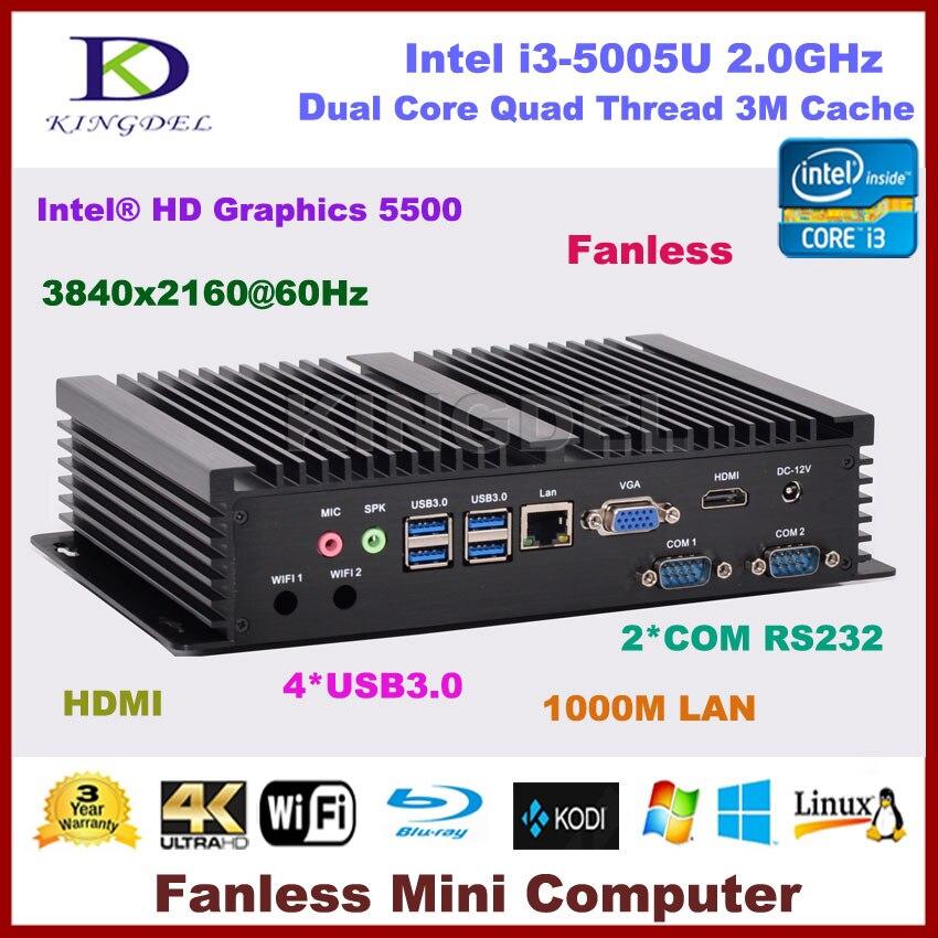 New Arrival Fanless Mini PC Windows I3 5005U Processor 8GB RAM MSATA 3.0 SSD 2*RS232 COM Port Industrial PC Rugged Computer PC