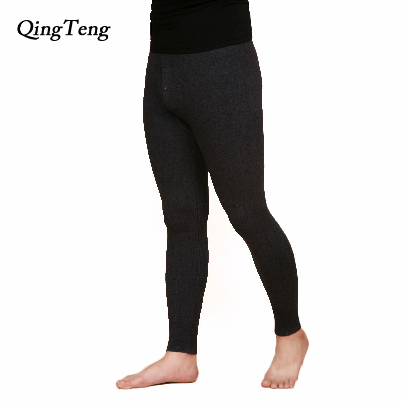 Slim Autumn Winter Skinny Thermal Underwear Men s Pure Cashmere Wool Long Johns Middle Thick Warm