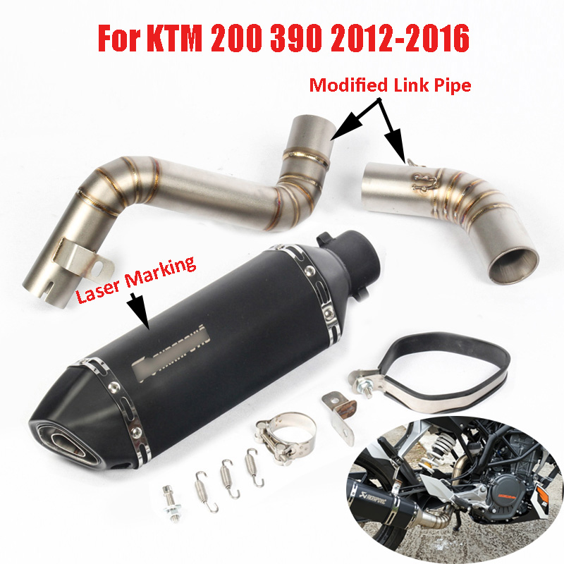 Slip On KTM DUKE 200 390 Motorcycle Exhaust System Modified Mid Link Pipe Muffler Pipe For KTM 200 390 2012 2013 2014 2015 2016 motorcycle exhaust link pipe for ktm duke 125 duke 200 duke 390 carbon color motorbike exhaust muffler escape full system laser