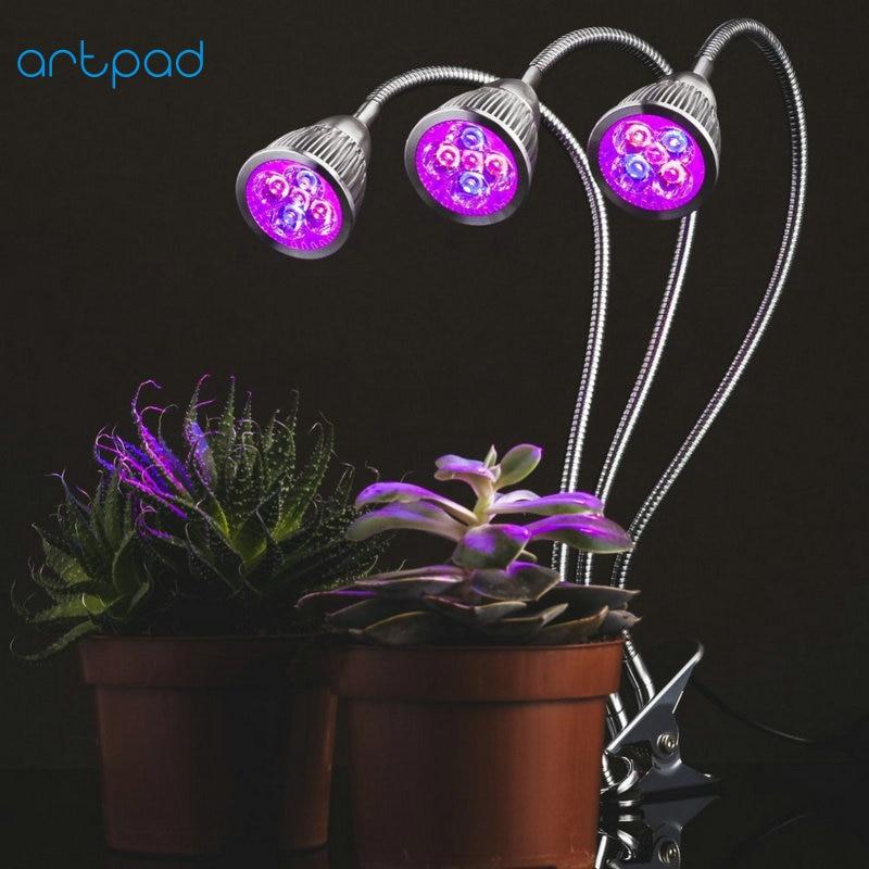 Artpad 10W/15W LED Light Bulbs for Plant Growth 360 Flexible Gooseneck Dual/ Three Heads Grow Lamp with Clip/Clamp AC90-260V