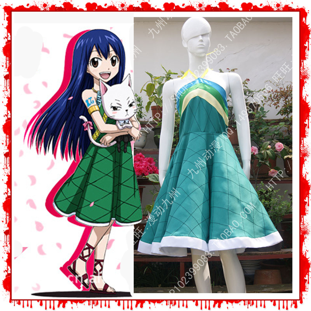 Fairy Tail Wendy Marvell Cosplay Costume Dress Lolita Dress Halloween Cosplay Costume