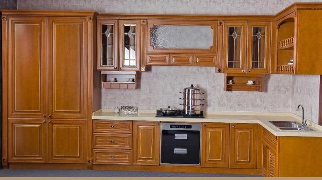 Madera maciza de lujo fábrica de mueble de cocina en Gabinetes de ...