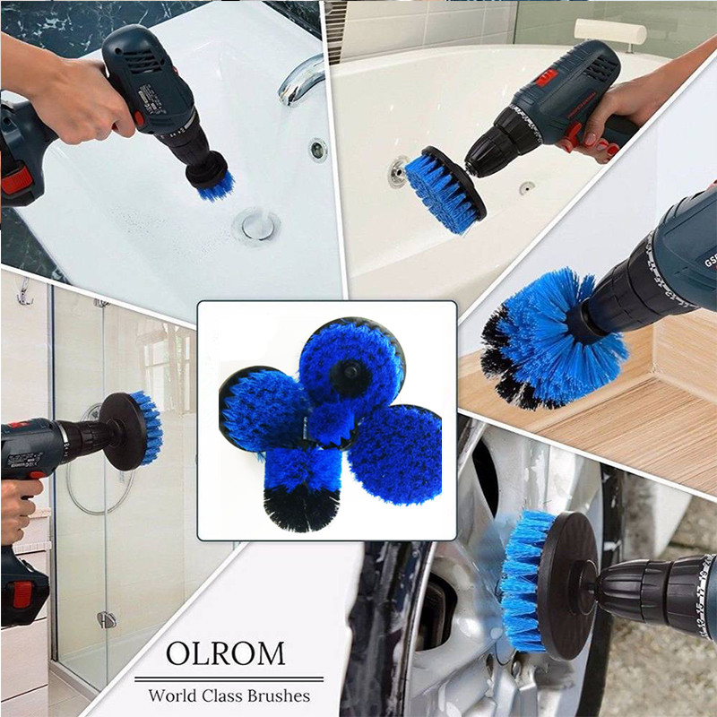 Expressive 5pcs/set Blue Electric Drill Brush Plastic Round Cleaning Brush For Carpet Glass Car Tires Nylon Brushes Power Scrubber Drill Rapid Heat Dissipation Tools