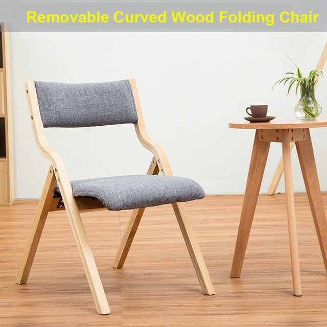 Yn52 Folding Chair Removable Seat Cover Washable Living Room Furniture E Saving Durable Curved Wood Frame