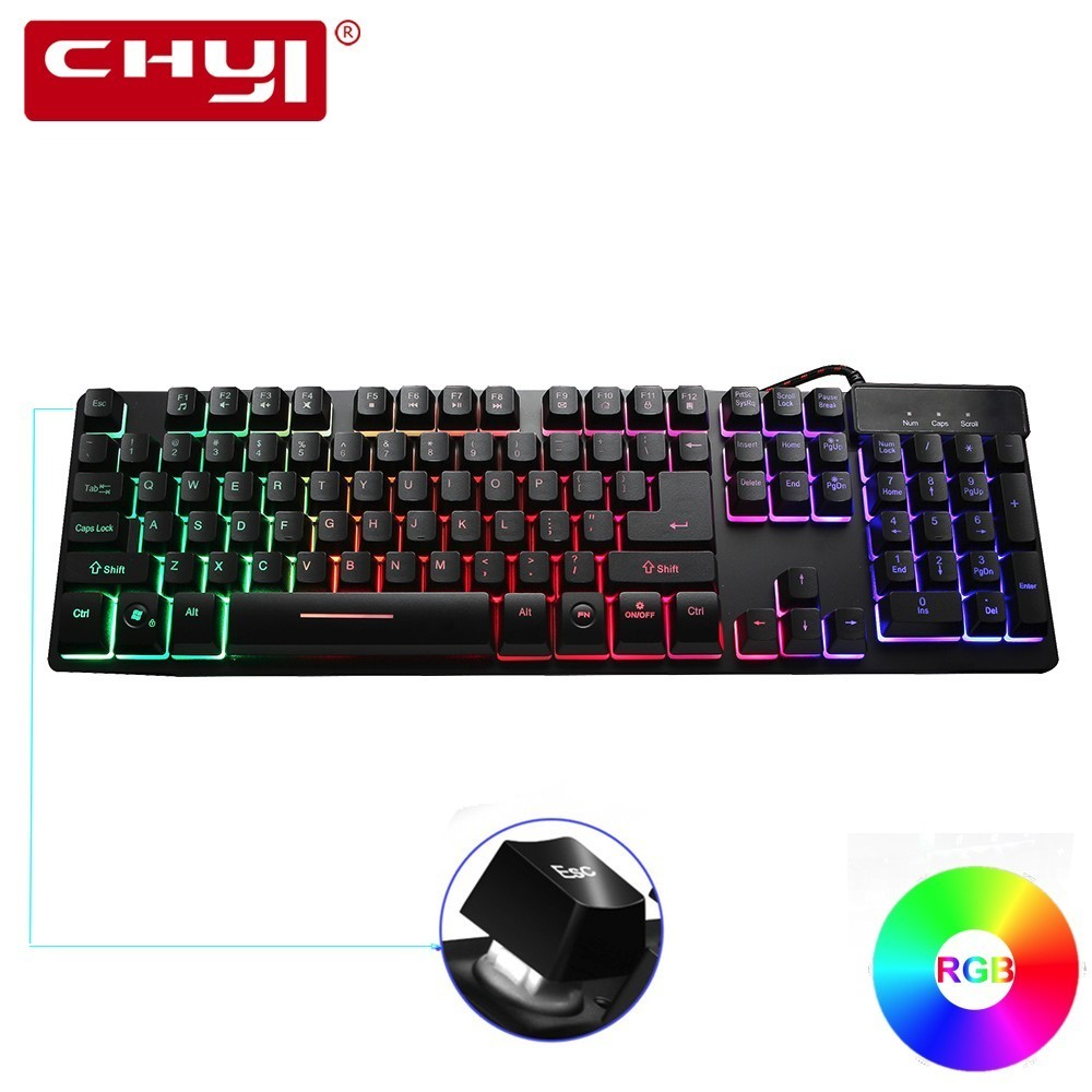 CHYI Gaming Wired Mechanical Touch Keyboard 104 Keys Real RGB USB Cable LED Backlit Light Anti-Ghosting Metal for PC Laptop Game