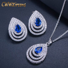 CWWZircons 2018 Newest Big Water Drop Blue CZ Earrings Necklace Micro Pave Cubic Zirconia Fashion Women Jewelry Sets T302(China)