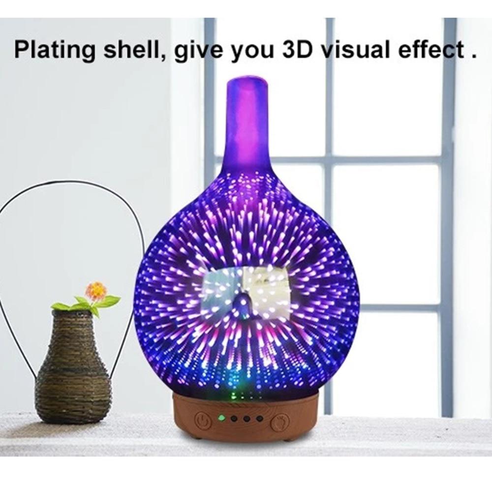 Beauty & Health Skin Care 200ml Creative 3d Led Night Light Glass Wood Grain Vase Shape Ultrasonic Essential Oil Diffuser