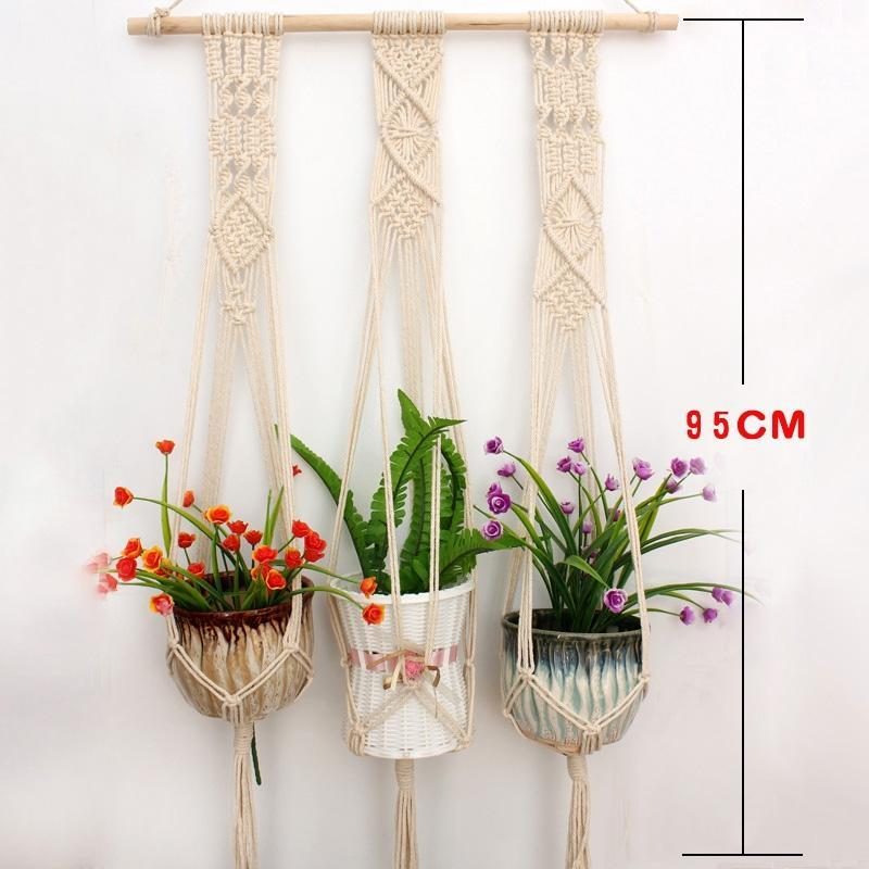 Romote Macrame Plant Hanger Indoor Outdoor Hanging Planter Basket Handmade Cotton Rope Wall For Round Square Pot