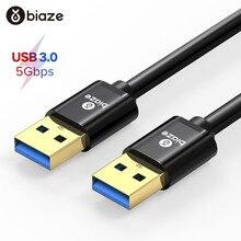 Biaze USB 3.0 kablo USB to USB kablosu tip A erkek erkek USB uzatma kablosu süper hızlı HDD radyatör için sabit Disk Webcom PC
