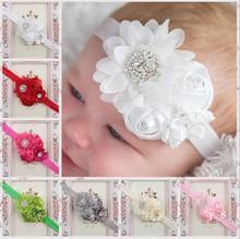 Cute Baby Girls Pearl Rose Flower Hair Band Chiffon Baby Headband Ribbon Elastic Hair Accessories Children Headwear YH546 стоимость