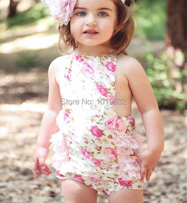 [ Clearance ] Vintage inspired Floral Girls Bodysuit - Baby Bubble Carters- Ruffle Onesie - Shabby Chic Bodysuit