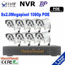 2.0mp Video surveillance Safety Digicam System 8pcs poe IP Digicam and 1080p CCTV NVR KIT System 8ch poe NVR with POE HDMI 1080P
