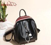 Gốc DOODOO Thương Hiệu Thời Trang Vệt Phụ Nữ Giản Dị Gấu Ba Lô PU Leather Bag Trường Cho các Cô Gái Du Lịch túi mochilas FR532