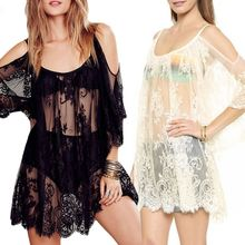 1 Pc Women Summer Sexy Cold Shoulder Sheer Eyelash Floral Lace Bikini Cover Up Half Sleeves Loose Mini Dress Solid Beachwear black cut out cold shoulder half sleeves dress