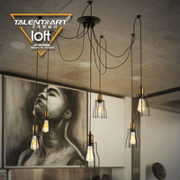 E27 6 8 Iron Material Metal Vintage Pendant Lights Lamparas Colgantes Luminaire Suspendu Lamba Hanging Lighting