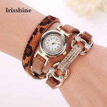 Irisshine B0856 marca presente relógio Das Mulheres senhora menina Mulheres Bracelete de Cristal de Quartzo Leopardo Enrolamento Envoltório Relógio de Pulso