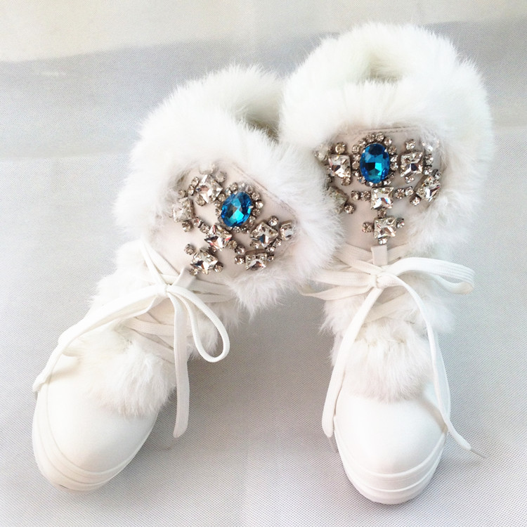 Real Rabbit Fur Winter Boots Rhinestones Diamond Fashion Snow Boots Thick Warm High-Top Women Shoes Large Size 41 Winter Boots
