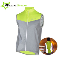 ROCKBROS Mens Breathable Cycling Vest Reflective Polyester Sleeveless Short Jersey MTB Bike Riding Clothing Windproof Sportswear