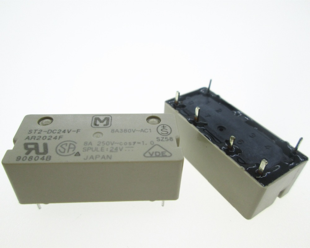 цена на NEW 24V relay ST2-DC24V-F AR2024F ST2-24VDC-F ST2DC24VF DC24V 24VDC 24V 8A 250VAC 6PIN