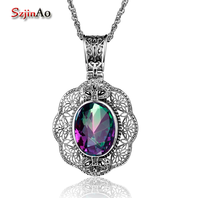 Szjinao Rose big Pendant Mystic Rainbow Topaz Real 925 Sterling Silver Vintage women Jewelry Wholesale For Friend Charm SlavicSzjinao Rose big Pendant Mystic Rainbow Topaz Real 925 Sterling Silver Vintage women Jewelry Wholesale For Friend Charm Slavic