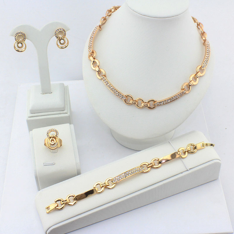 2016 women wedding dress jewelry sets gold necklace for Bracelet for wedding dress