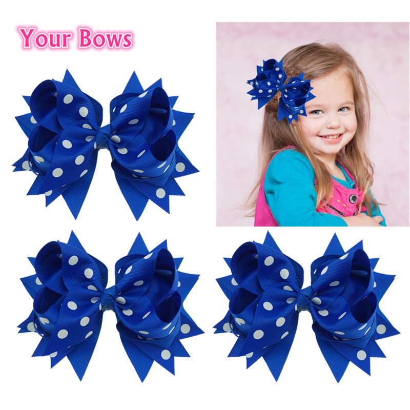Din båg 1PC 5.5Inch Grosgrain Ribbon Hair Bows Girls Bows Hair Clips