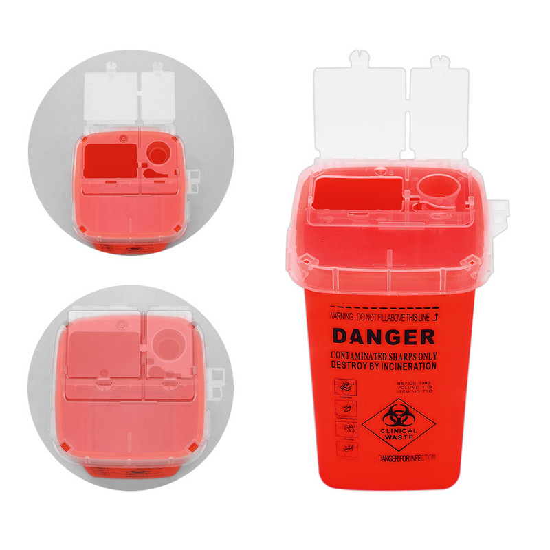 Tattoo Supplies Discard Storage Container Tattoo Accessories Trash Can Medical Plastic Sharp Container Biohazard Needle Disposal