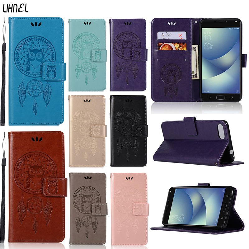 LIHNEL Owl Dreamcatcher Magnetic Flip Cover Holster PU Leather Stand Wallet Card Slots Purse Case For ASUS Zenfone 4 max zc554kl