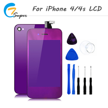 ET-Super No Dead Pixel Mirror lcd back cover+home button For iPhone 4 4s LCD Display Touch Screen With Digitizer Assembly