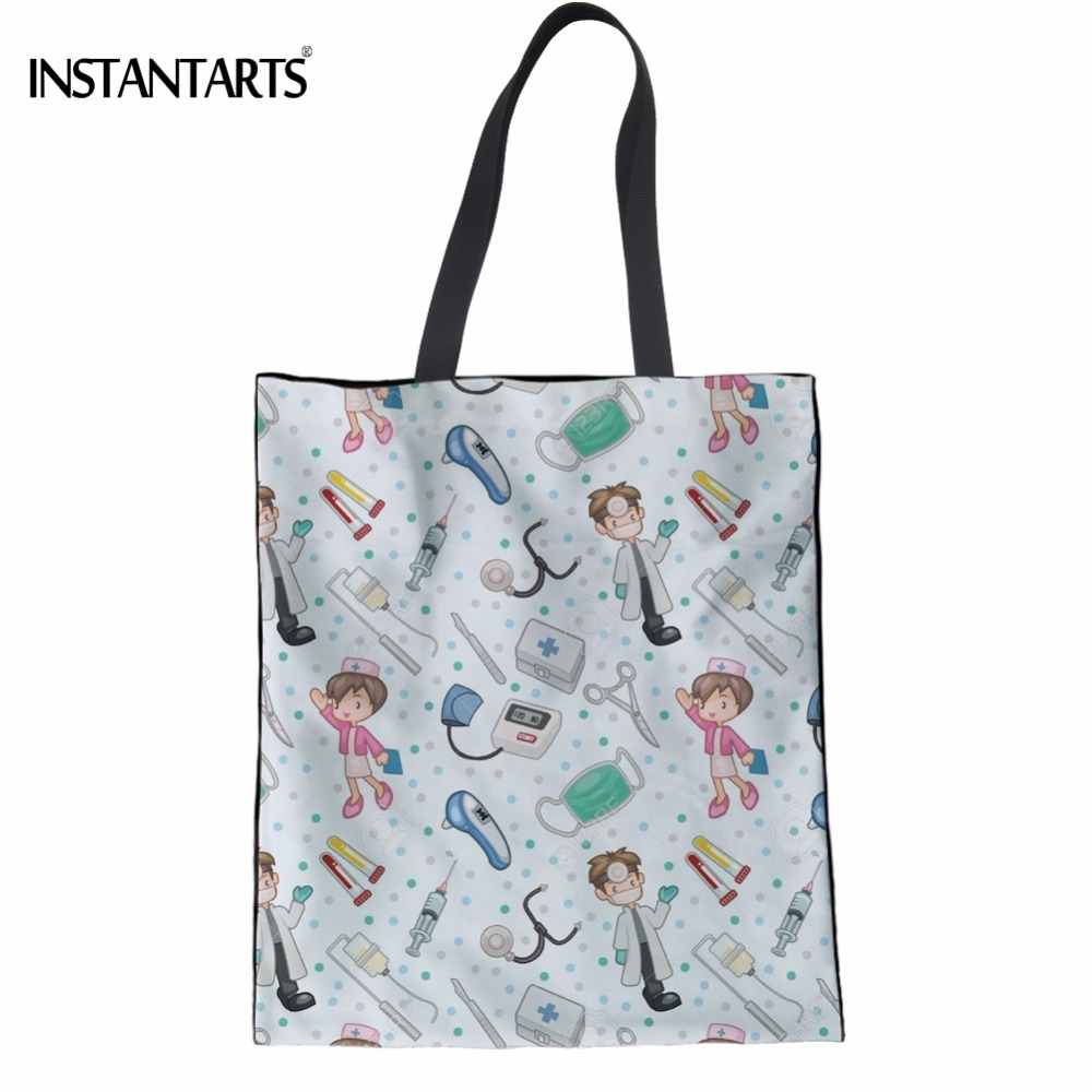INSTANTARTS Woman Linen Shopping Tote Bags Cute Cartoon Nurse 3D Print Reusable Cloth Bags Casual Teen Girl Big Friendly Eco Bag