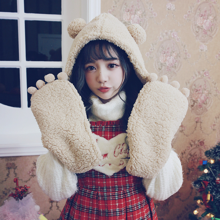 Princess Sweet Lolita Student Scarf BOBON21 Plush Velvet Paw Bear Hooded One-piece Gloves Scarf AC1440