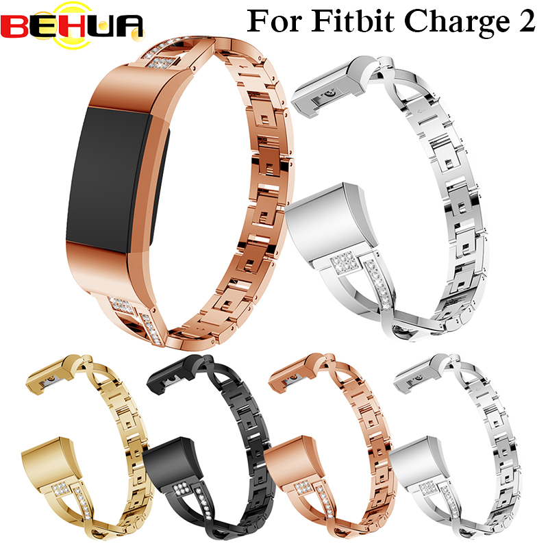 Luxury Band for Fitbit Charge2 Smart Wristband with Rhinestone Band wrist Strap For Fitbit Charge 2 Bracelet Smart Accessories in Smart Accessories from Consumer Electronics